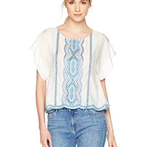 Ella Moss Tops - White Embroidered Tee Shirt